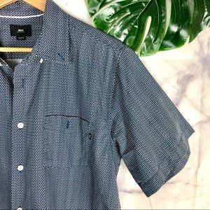 OBEY Men's Short Sleeve Button Down Shirt | Large